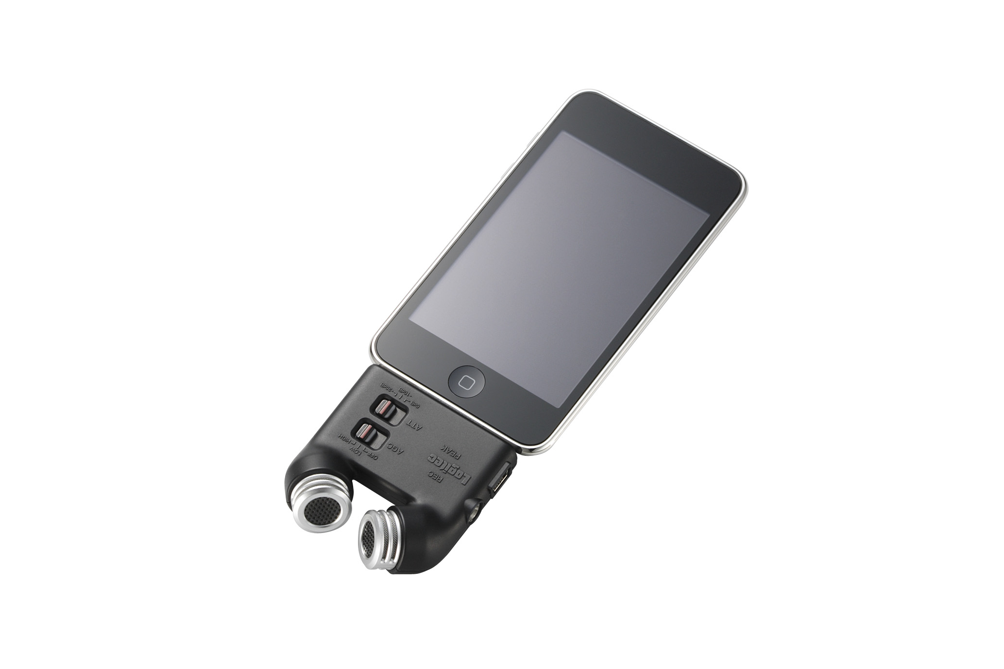 ▲iPhoneに高性能マイクを装着したところ http://www.logitec.co.jp/press/photo/photo_350/licirec03p_31.jpg より