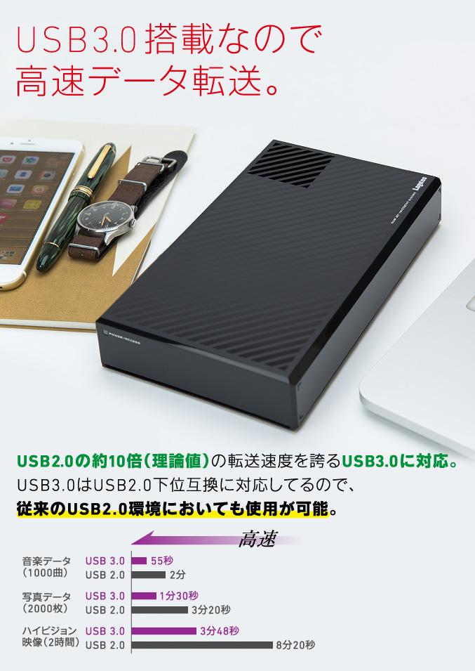 USB3.0搭載なので高速データ転送。