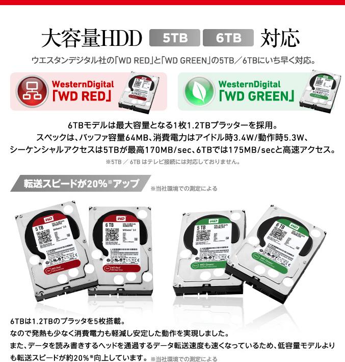 大容量HDD5TB6TB対応